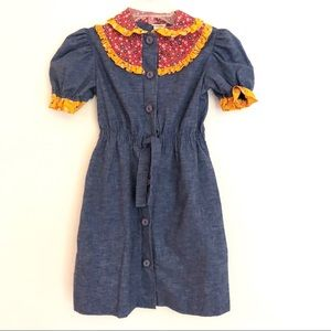 Vintage Girls Denim Look & Calico Prairie Dress 12